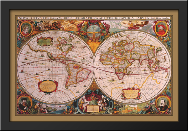 Map Of The World Antique Style X Extra Large Black Wood Framed - Map of the world antique style