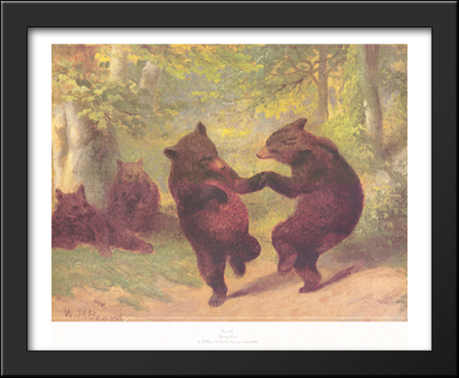 Dancing Bears 34x28 Extra Large Black Wood Framed Art Print by ...