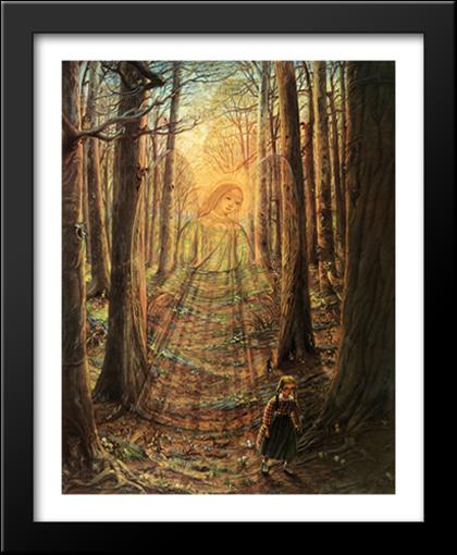 The Guardian Angel 28x35 Extra Large Black Wood Framed Art
