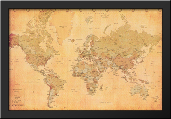 Map of the world vintage mercator projection 40x28 framed art image is loading map of the world vintage mercator projection 40x28 gumiabroncs Gallery