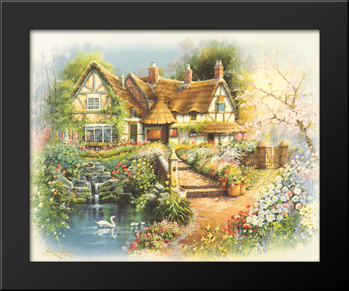 Country Cottages 9x8 Black Wood Framed Art Print by Andres Orpinas ...