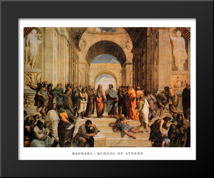 The School of Athens, c.1511 18x15 Black Wood Framed Art Print by ...