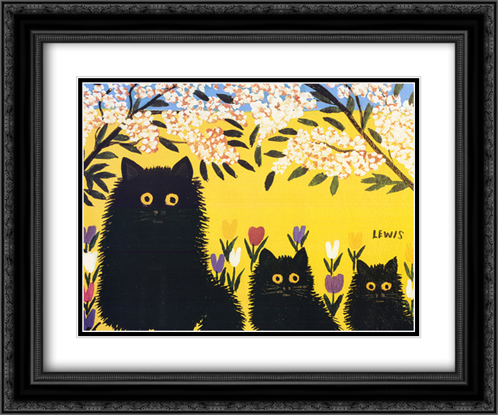930ef43f09a6 Three Black Cats 2x Matted 22x18 Black or Gold Ornate Framed Art Print by  Maud Lewis